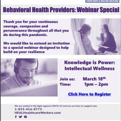 Behavioral Health Provider:  Webinar Special